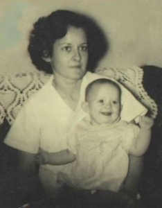 Nanny when she was my age, holding my mother.