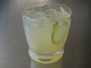 Fresh lime vodka gimlet, on the rocks.