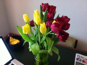 One bouquet was thoughtfully arranged in the living room, and the other was in my bedroom.